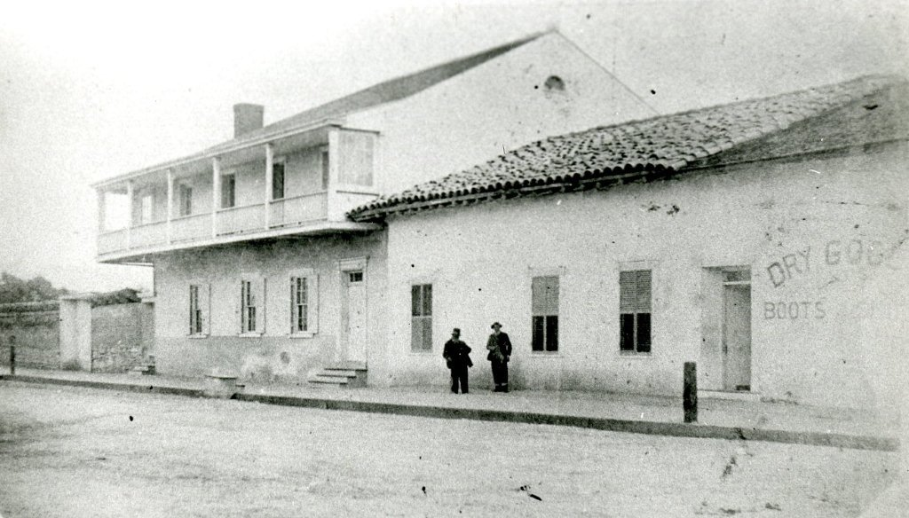 Cooper Adobe (Left) and Diaz Adobe (Right)  Courtesy of The California History Room, Monterey Public Library