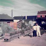 Making adobe bricks in Diaz courtyard during 1979 CA state parks renovation