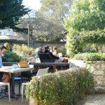 Garden seating in the Diaz courtyard of Cooper Molera